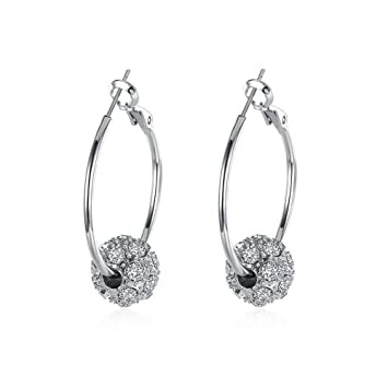 Large Hoop Silver Rhinestone Crystal Cubic Zirconia Earrings UK Seller*