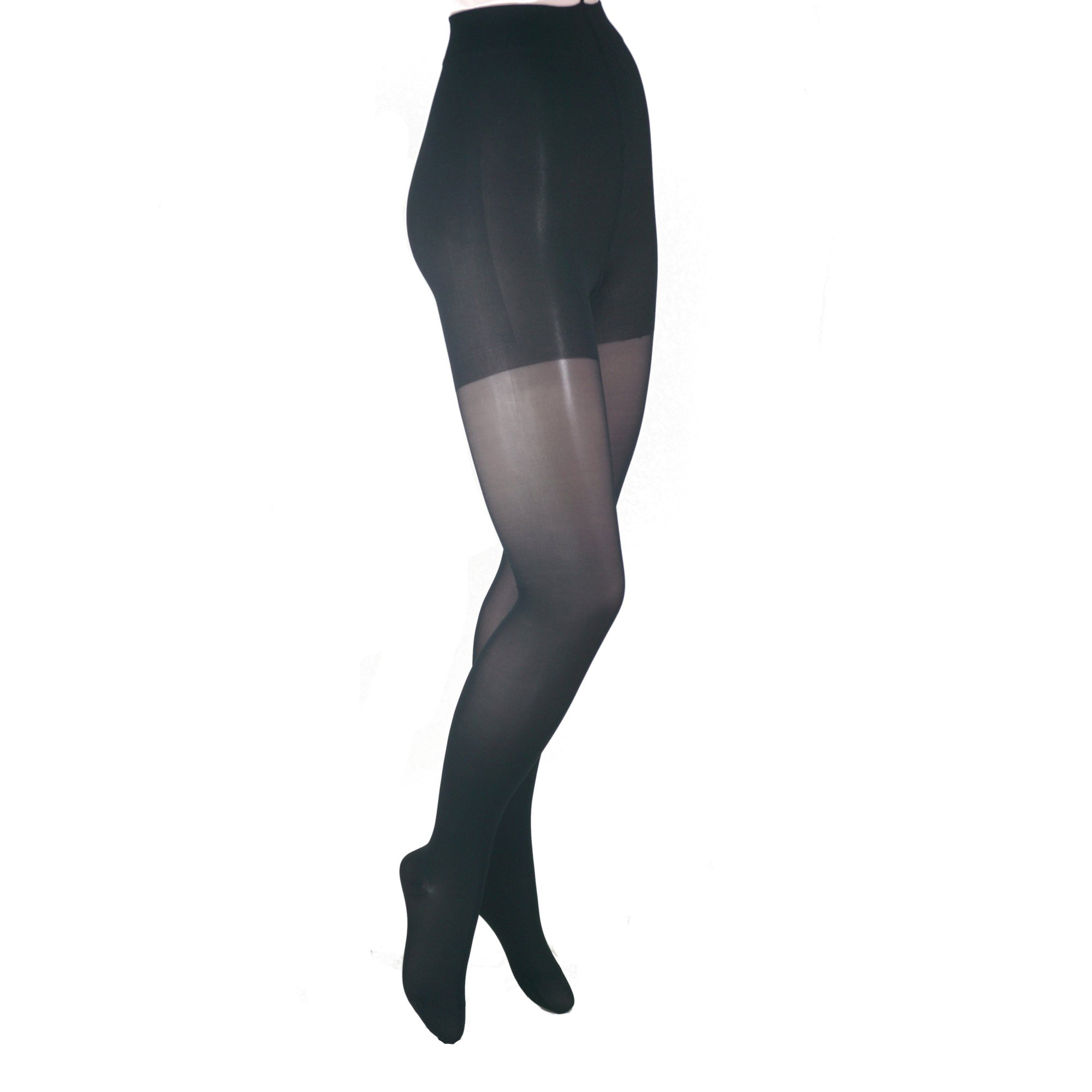 Gabrialla Sheer Pantyhose Compression (23-30 mmHg), Black, Queen plus, Count