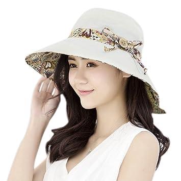 adbf07cdb9d Women Girls Summer Floral Bucket Sun Hat Bucket Cord Beach Cap Wide Brim  Reversible Beach Hat
