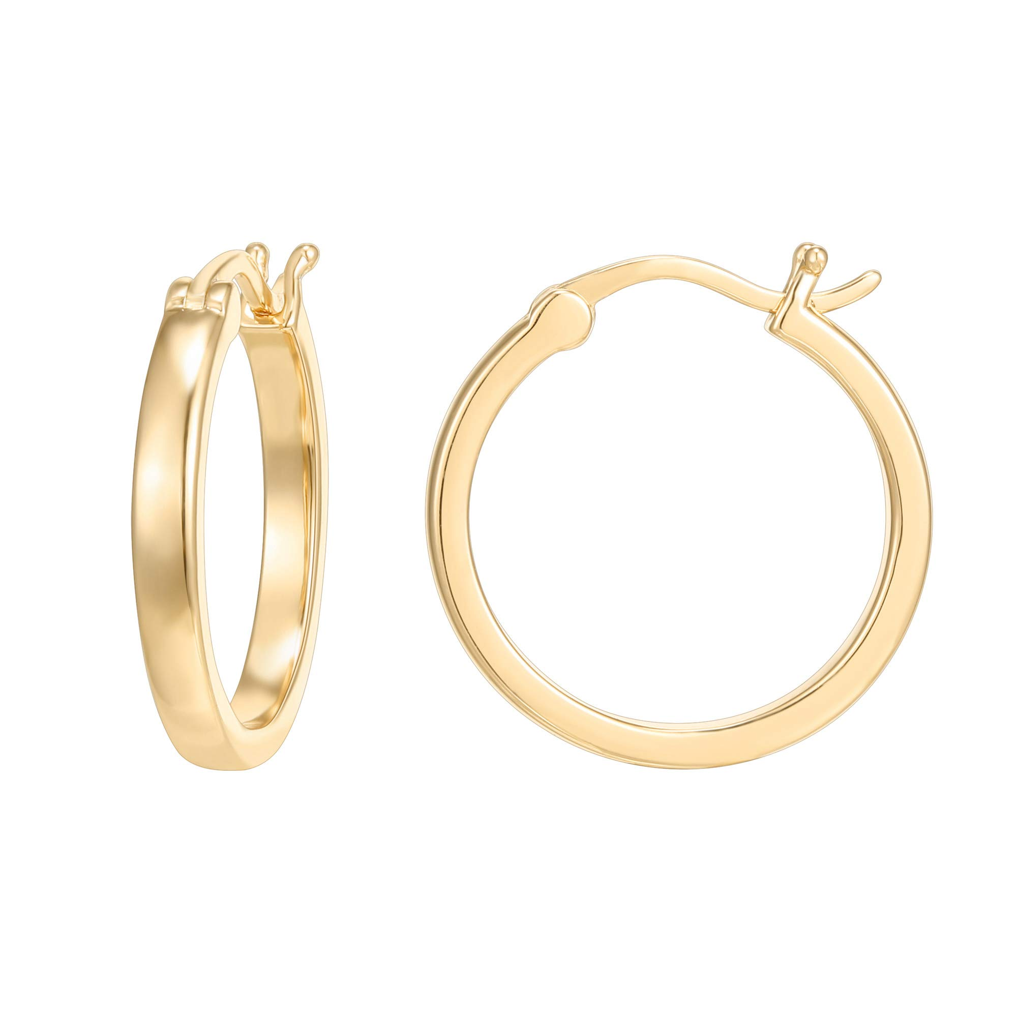 PAVOI 14K Yellow Gold Plated 925 Sterling Silver Post Lightweight Hoops | Yellow Gold Hoop Earrings for Women by PAVOI