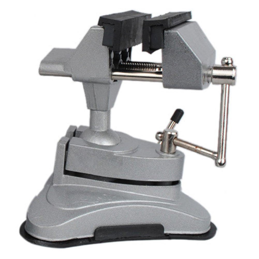 Hobby Mini Vice with 360° Swiveling Head and Powerful Suction Mounting Mechanism and Soft Jaws for Craft, Model Building(Silver) by cyclamen9 (Image #6)