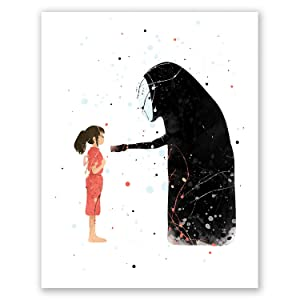 PGbureau Spirited Away Poster – Anime Wall Art Home Decor – Studio Ghibli – Hayao Miyazaki Movie Nursery Print – Watercolor Kids Bedroom (8x10)