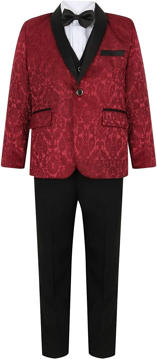 Boys Suits 5 Piece Maroon Burgundy Printed Brocade Wedding Suit Prom Page Boy Baby Formal Party