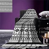 smallbeefly Native American Lightweight Blanket Aztec American Folkloric Art Borders Ancient Tribal South America Culture Digital Printing Blanket Black White