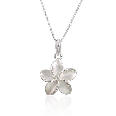 925 Sterling Silver Hawaiian Plumeria Flowers Charm Pendant