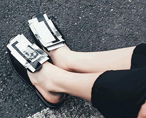 Beach Leather On Slippers Yellow Geometric silver Baotou black Clogs Shoes Flat Sandals Silver Cool upper Slippers Women Slip GLTER Shoes Black Pool Mules Colorful t4Awq7AF