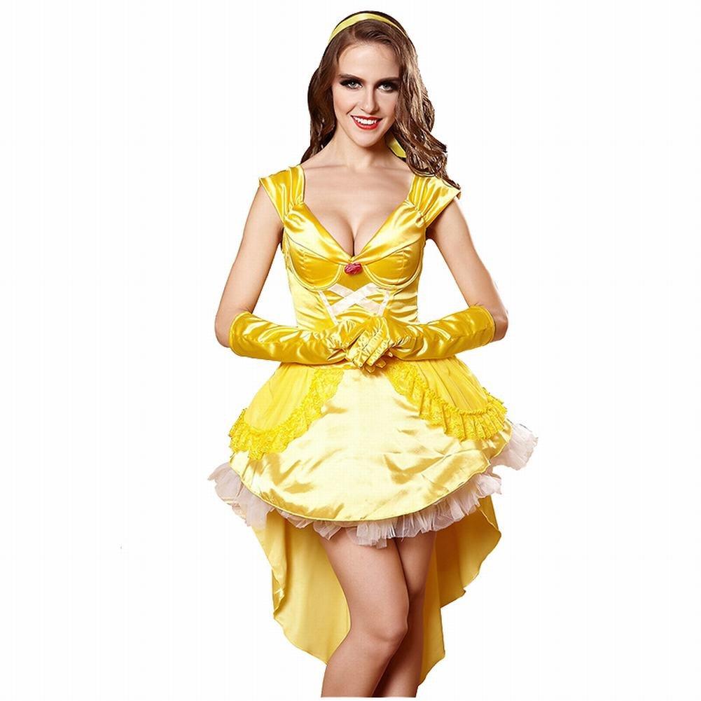 3Pc Princess Belle Costume Dress Headpiece Gloves Cosplay Beauty Satin Elegent Desses