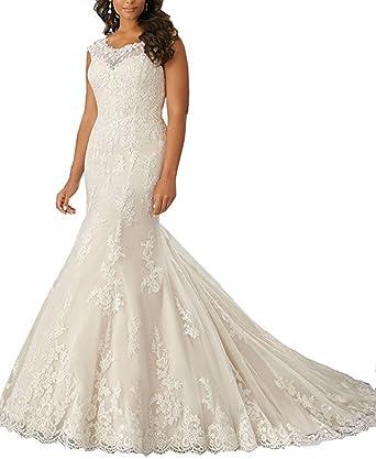 Lilyla Womens Plus Size Mermaid Style Wedding Dress Vintage Long
