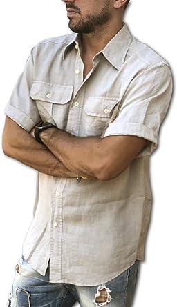 Puro Lino - Camisa casual - Liso - Manga Corta - para hombre arena 4XL: Amazon.es: Ropa y accesorios