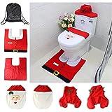 Asamoom Christmas Ornaments Happy Santa Toilet Seat Cover and Rug Set