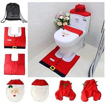 Ounona Weihnachten Badematten Set Flanell Matte Badezimmer