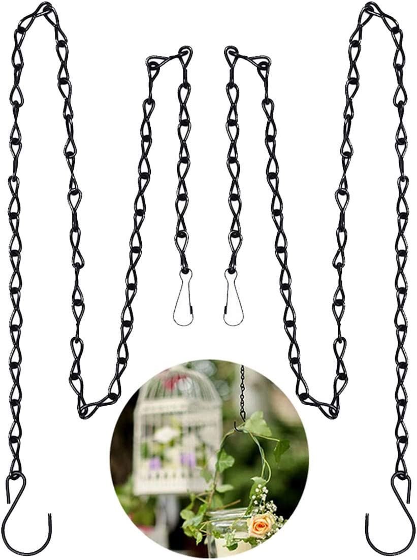 Hanging Basket Chains, 2pcs 35 Inch Black Hanging Chains Flowerpot Hanger Replacement Chain Garden Plant Hanger for Bird Feeders, Planters, Lanterns and Ornaments