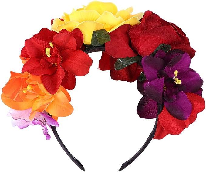 LUOEM Diadema con corona de flores Diadema con flor de rosas ...