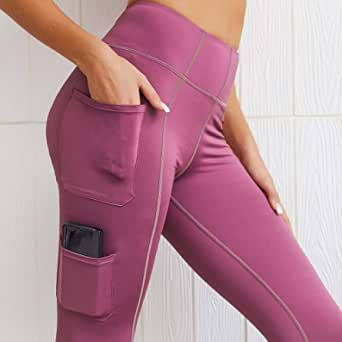 HAWEEL Women Fitness Leggings with Pockets Sportwear (Color : Rose Red, Size : S)