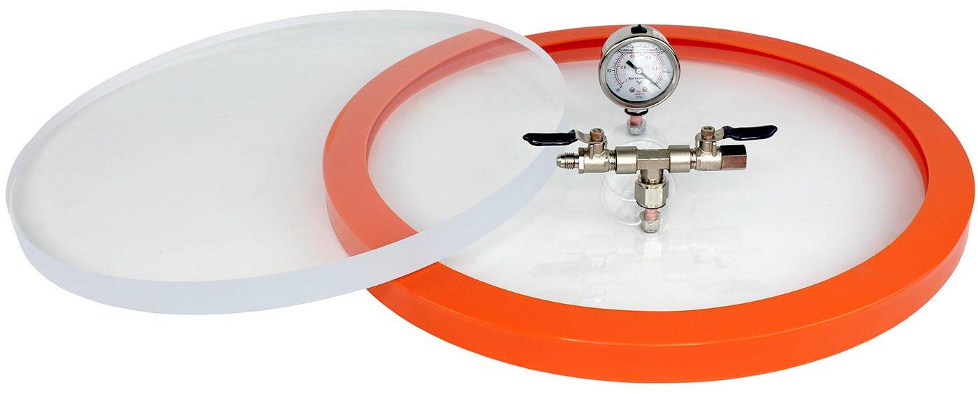 Best Value Vacs Acyrlic 12.75'' Diameter Vacuum Chamber Lid, Fits 5 Gallon Vacuum Chamber, Includes Hardware & Gasket