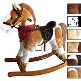 Jago Cavallo cavallino a dondolo per bambini con effetti sonori in peluche ca. 74/30/64 cm colore marrone-bianco