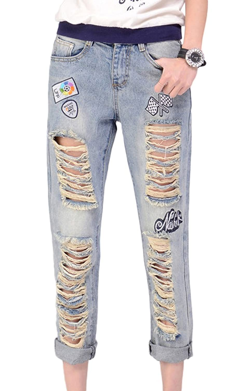 Chickle Women's Cotton Ripped Distressed Destory Ankle Jeans