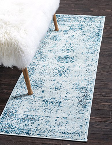 Unique Loom Sofia Collection Traditional Vintage Light Blue Runner Rug (2′ x 7′)