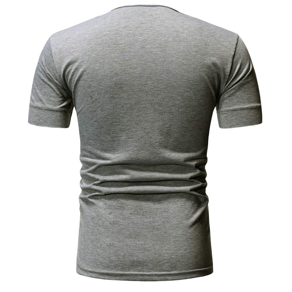 Summer And Autumn u-Neck Elastic Tops WYTong Slim Fit Short Sleeve Pullover Summer Fashion Mens Spring