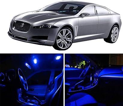 10pcs Blue Car LED Bulbs Kit For Jaguar XF 2009-2015 New Interior Lights Package