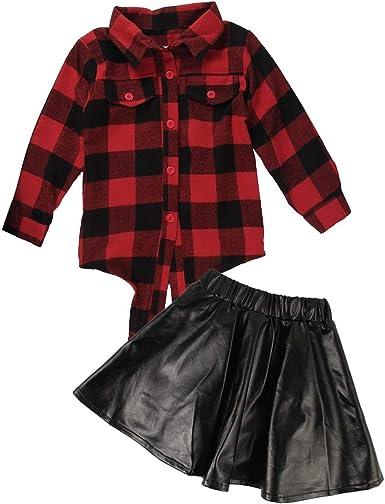 PeiXuan2019 2 piezas de moda para bebés niñas a cuadros camisa de ...