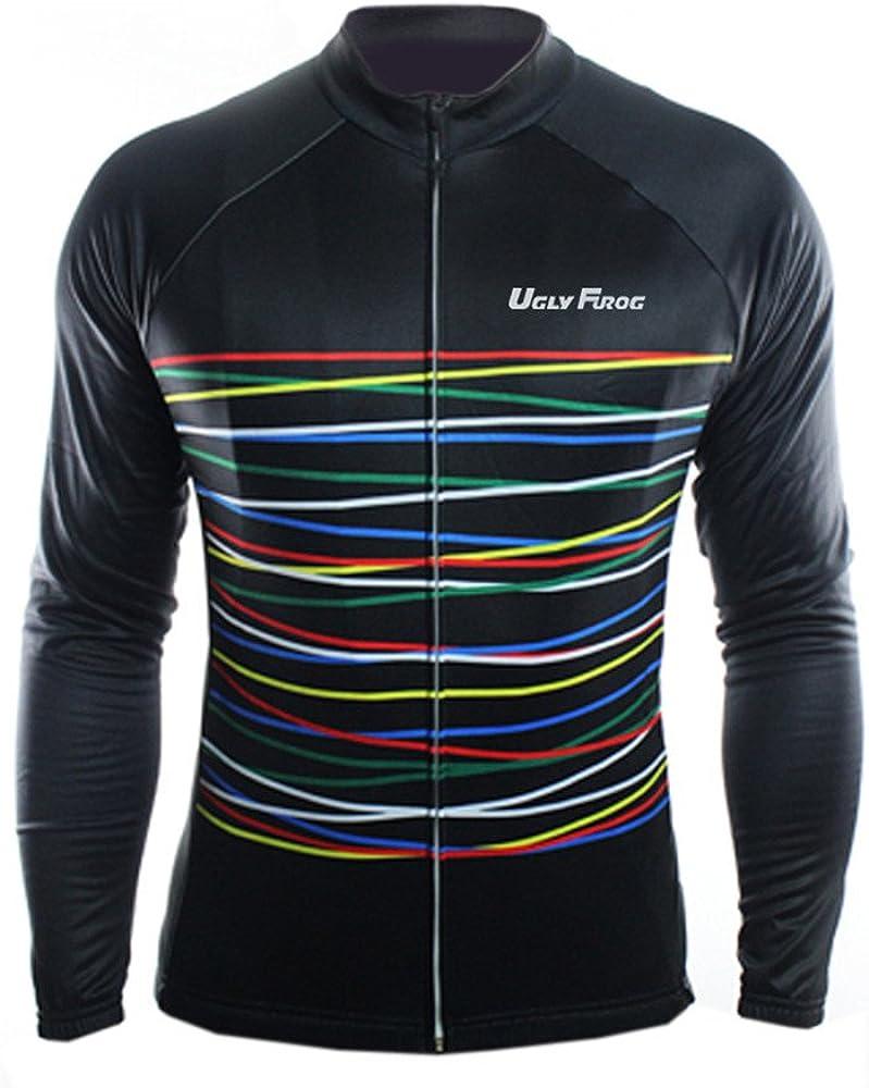 Radtrikot Atmungsaktiv Rei/ßverschluss Schnelltrocknend Reflektoren Jersey Uglyfrog MTB Fahrradtrikot Langarm Pro T