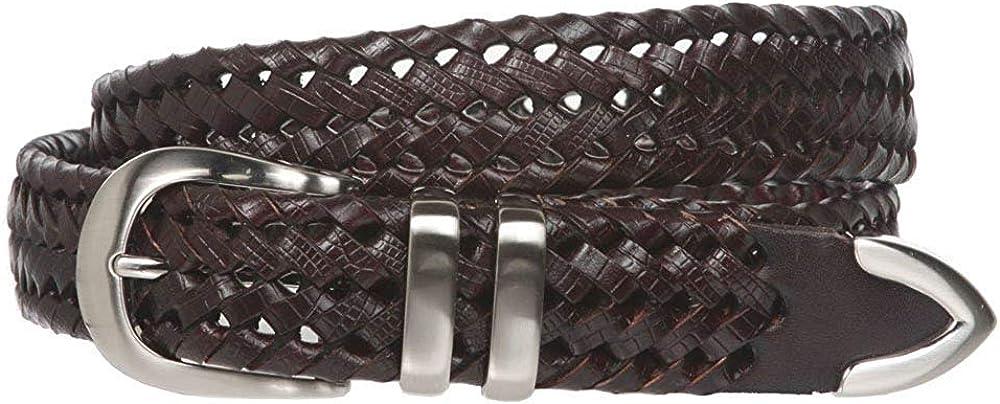 BBBelts Men Casual 1-1//8 Tan Braided Leather 3 Piece Silver Metal Buckle Belt