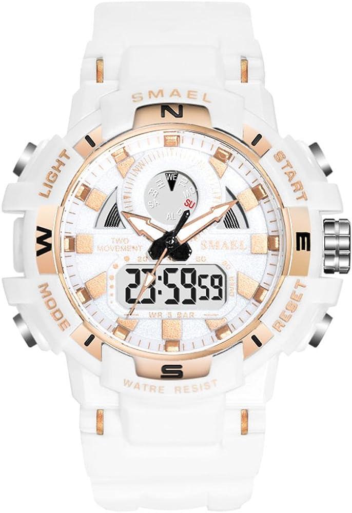 Women's Sports Digital Watch, Waterproof White Wrist Watches for Women