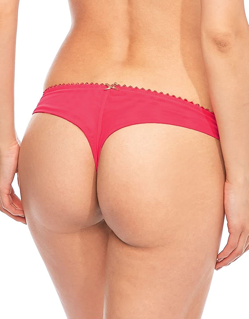 Teaberry//Cafe Creme, Medium Heidi Klum Heidi by Masquerade Bow Accented Thong Panty