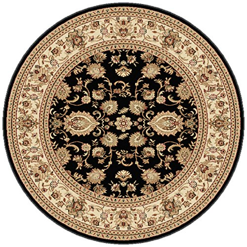 Scroll Border Black Rug - Universal Rugs Traditional Oriental 7 ft. 10 in. Round Area Rug , Black