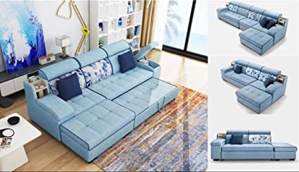 Excellent Quality Furniture Linen Sky Blue Fabric Sofa Bed Living Room Ibusinesslaw Wood Chair Design Ideas Ibusinesslaworg