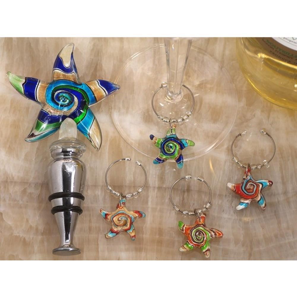 Murano art deco combination starfish stopper and wine charms