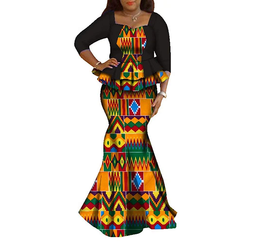 24fs1053 BintaRealWax Womens Elegant African Skirts Set 2 Piece Ankara Peplum Tops & Mermaid Skirt