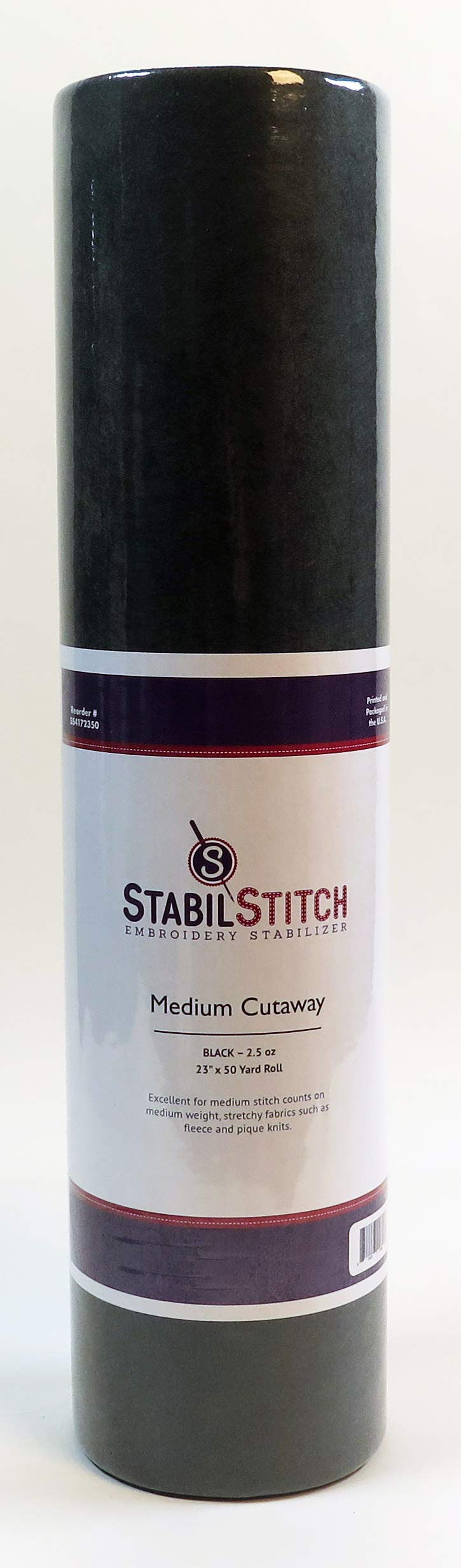 Black Medium (2.5 oz.) Cutaway 23'' x 50 Yd Roll - Embroidery Stabilizer by StabilStitch