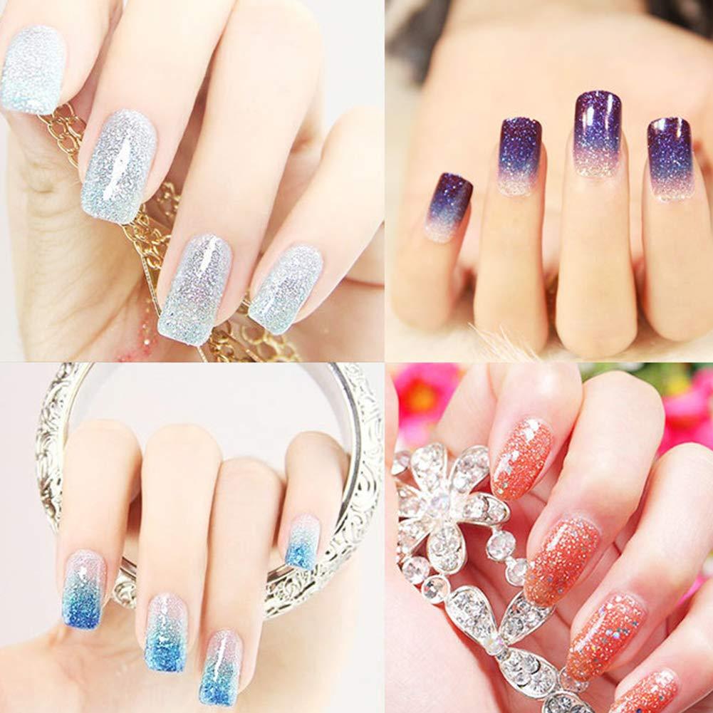 Uñas con efecto espejo, pigmento en polvo para manicura con purpurina Glue 12st arco iris en polvo de cromo, para mujeres: Amazon.es: Belleza
