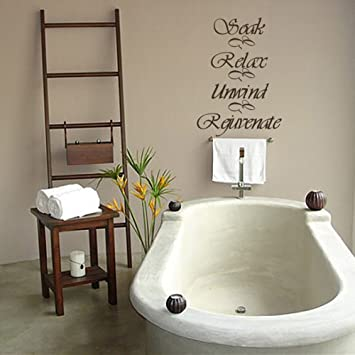 Amazoncom MairGwall Bathroom Wall Decal Soak Relax Unwind - Wall decals relax