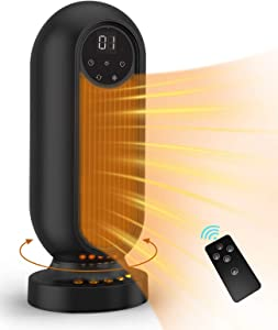 Infray Space Heater, 1500W Oscillating Ceramic Tower Heater, Portable Fast Heating Electric Fan Heater with LED Flame Light, 12Hrs Timer, Remote Control & LED Display for Home Office Indoor Use