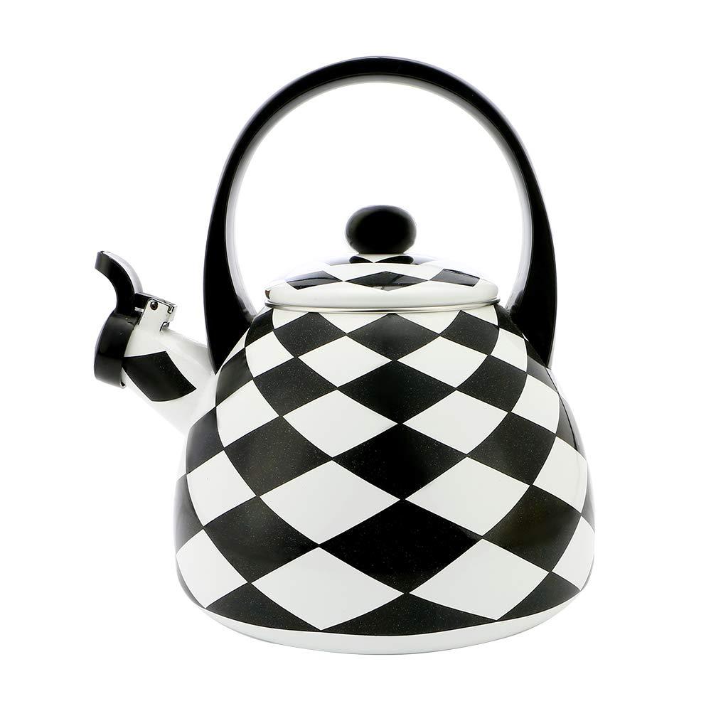 Gourmet Art Black Diamond Enamel-on-Steel Whistling Kettle by Supreme Housewares