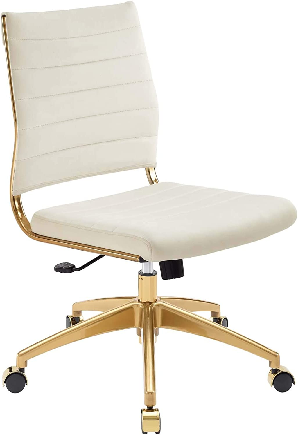 Amazon Com Modway Jive Ribbed Performance Velvet Mid Back Armless Computer Desk Swivel Office Chair In Ivory Furniture Decor