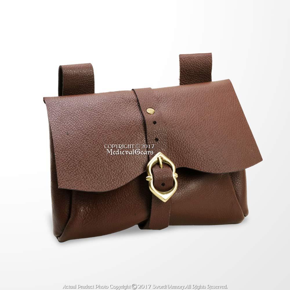 Medieval Messenger Bag Leather Belt Pouch LARP Renaissance Fair Costume Brown by Medieval Gears
