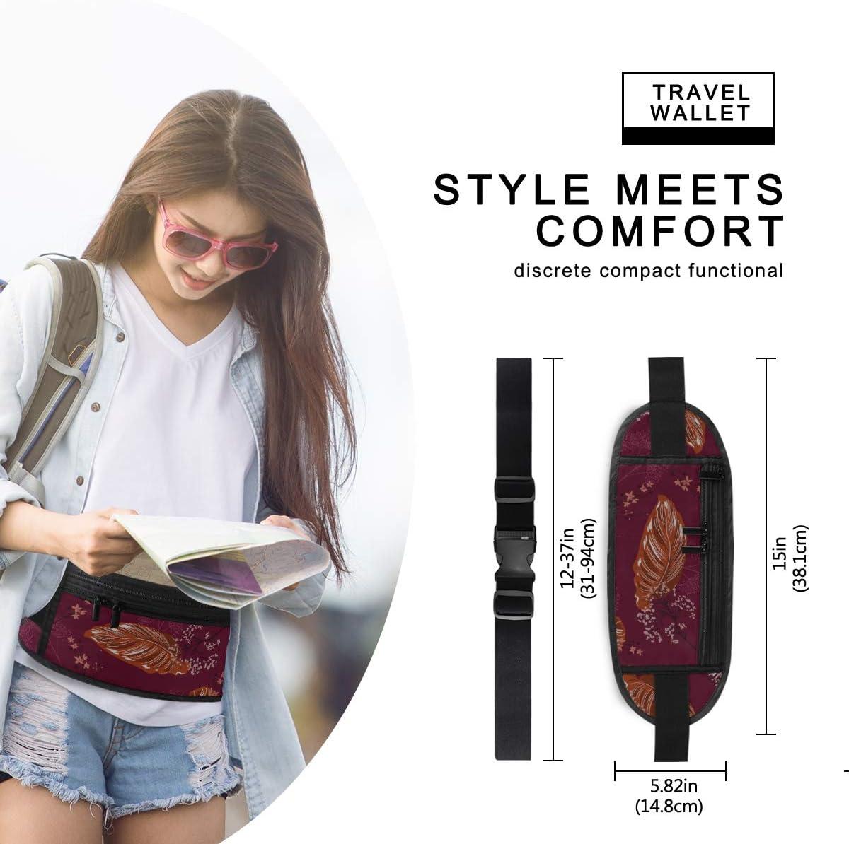 Travel Waist Pack,travel Pocket With Adjustable Belt Beautiful Wallpaper Leaf Running Lumbar Pack For Travel Outdoor Sports Walking