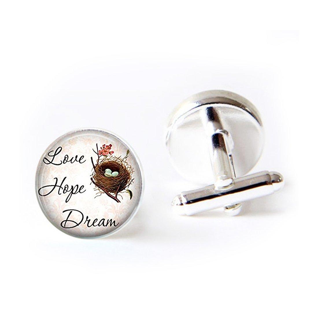 Unique Round Cufflinks Set Sayings Love Hope Dream Pendant Art Glass Cuff Dress Shirt Links Wedding Business Anniversary Gift for Him
