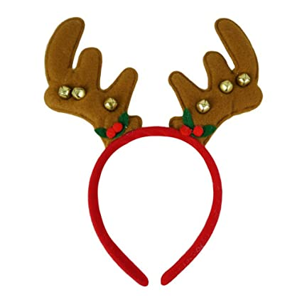 Las niñas Navidad cuernos de reno de fieltro de color marrón y de ...