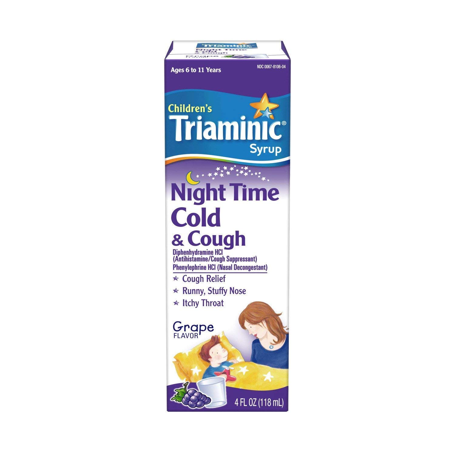 Triaminic Children's, Night Time, Cold & Cough Syrup, Grape - 4 oz, Pack of 5 by Triaminic