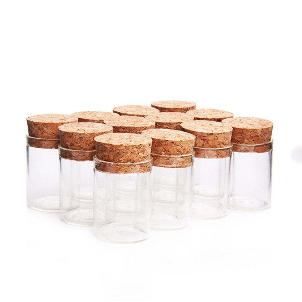 10pcs 15ml Small Mini Glass Bottles Vials Jars Glass Test Tube with Cork Stoppers 15ml 30x40mm(1.18x1.57inch) Luo House