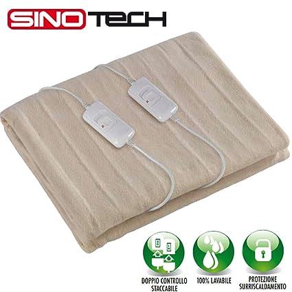 Manta eléctrica para cama de matrimonio con doble regulador de temperatura, 160 x