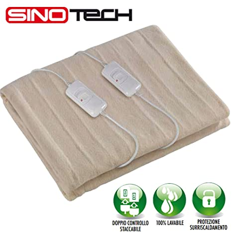 Manta eléctrica para cama de matrimonio con doble regulador de temperatura, 160 x 140 – ¡Permite ...