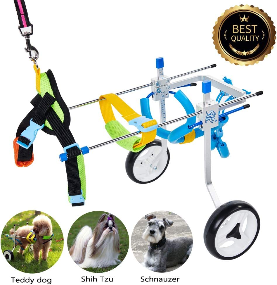 HiHydro 6 Types Cart Pet Wheelchair for Handicapped Hind Legs Small Dog Cat//Doggie//Puppy Walk Stainless Steel XXS-L