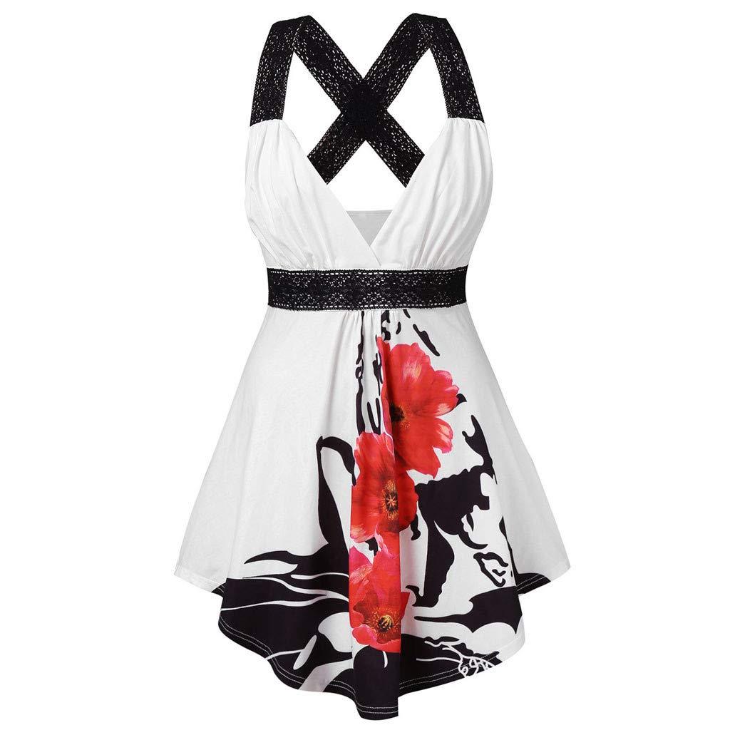 Women Midi Dress Casual V Neck Sleeveless Floral Print Cross Wrap Tank Top Blouse (S, White)