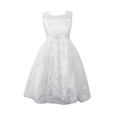 4c2a0f83a Amazon.com  FREE FISHER Kids Girls Pleated Lace Dress  Clothing